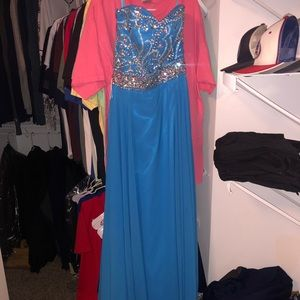 Blue prom dress with sequin top (SIZE 6/8)